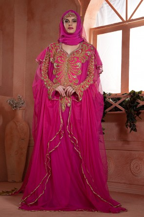 Embroidered Magenta Net and Crepe Eid Special Kaftan
