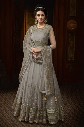 Lovely Grey Net Embroidered Anarkali Pakistani Salwar Suit With Net Dupatta