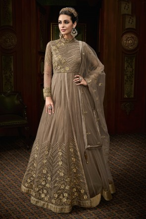 Beautiful Beige Net Embroidered Anarkali Salwar Suit With Net Dupatta