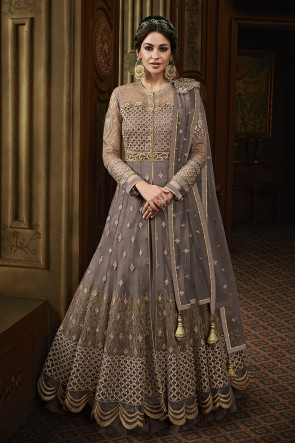 Grey Net Embroidered Anarkali Salwar Suit With Net Dupatta