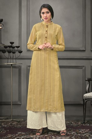 Marvelous Thread Work Golden Silk Kurti