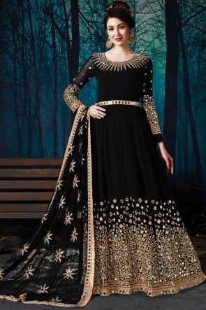 Classic Faux Georgette Black Embroidered And Mirror Work Party Wear Anarkali Suit With Chiffon Dupatta
