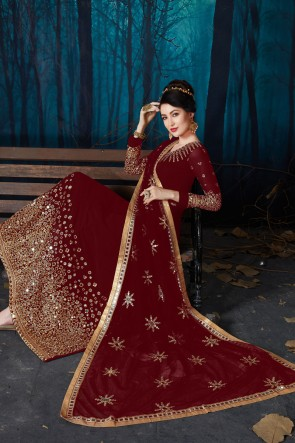 Engagement Wear Maroon Gorgeous Faux Georgette Embroidered And Mirror Work Anarkali Suit