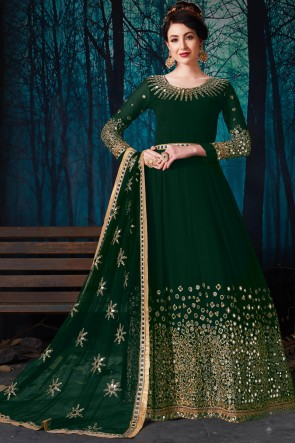 Green Party Wear Embroidered And Mirror Work Charming Faux Georgette Anarkali Suit With Chiffon Dupatta
