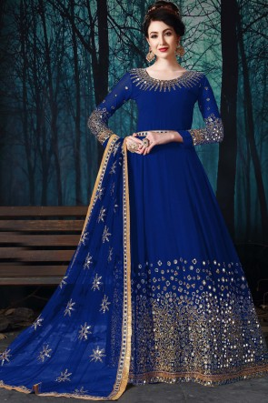 Beautiful Blue Engagement Wear Embroidered And Mirror Work Faux Georgette Anarkali Suit