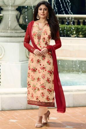 Kritika Kamra Brasso Peach Stone Work And Digital Print Salwar Suit With Nazmin Dupatta
