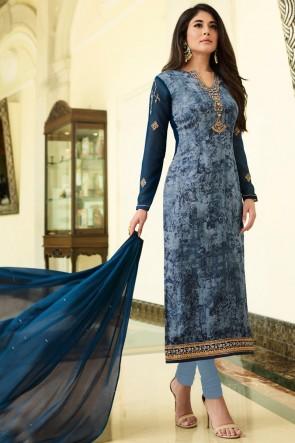 Kritika Kamra Digital Print And Golden Mill Blue Brasso Salwar Suit With Nazmin Dupatta