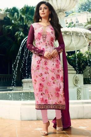 Kritika Kamra Baby Pink Golden Mill And Stone Work Brasso Salwar Suit And Santoon Bottom