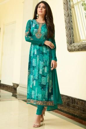 Kritika Kamra Green Brasso Golden Mill And Stone Work Salwar Suit And Santoon Bottom