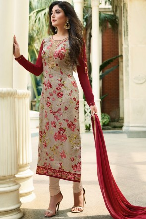 Kritika Kamra Beige Digital Print And Stone Work Brasso Salwar Suit With Nazmin Bottom