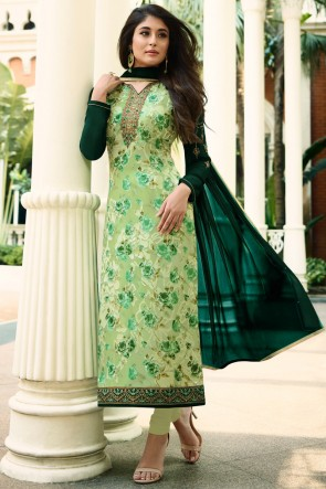 Kritika Kamra Light Green Brasso Golden Mill And Digital Print Salwar Suit
