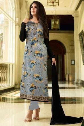 Kritika Kamra Brasso Grey Digital Print And Golden Mill Salwar Suit With Nazmin Dupatta