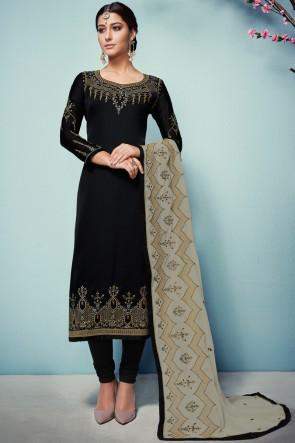 Marvelous Black Embroidered Georgette Satin Salwar Suit With Georgette Dupatta