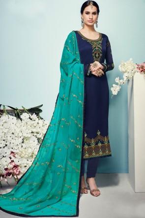 Charming Navy Blue Georgette Satin Embroidered Salwar Kameez Georgette Dupatta