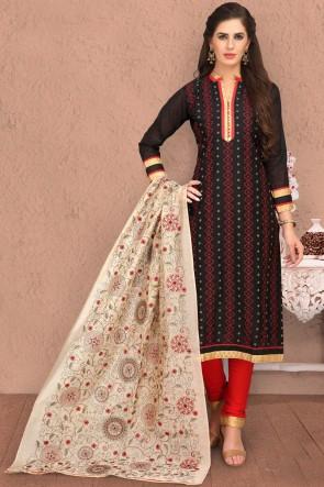 Ultimate Black Chanderi Printed Casual Salwar Suit And Dupatta