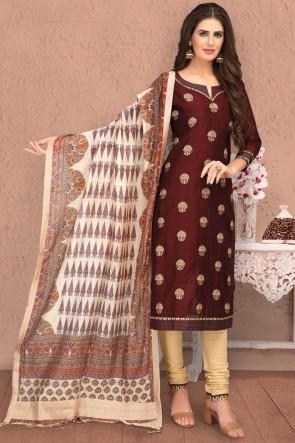 Pleasing Brown Embroidered Chanderi Silk Casual Salwar Kameez And Dupatta