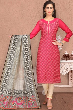 Party Wear Embroidered Pink Chanderi Casual Salwar Kameez And Cotton Bottom