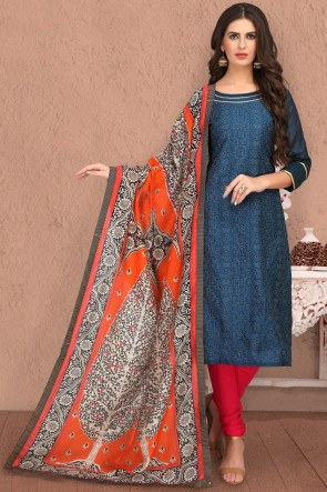 Turquoise Beautiful Chanderi Silk Casual Salwar Suit With Chanderi Dupatta
