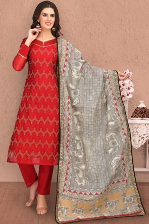 Maroon Designer Printed Casual Salwar Kameez And Cotton Bottom