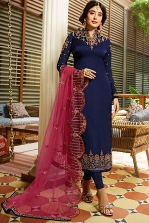 Kritika Kamra Stone Work Navy Blue Georgette Satin Salwar Suit With Net Dupatta