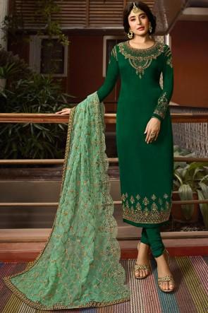 Kritika Kamra Embroidered Green Salwar Suit With Georgette Dupatta And Santoon Bottom