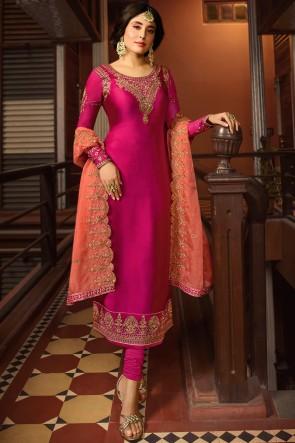 Kritika Kamra Embroidered And Stone Work Beautiful Pink Salwar Suit And Santoon Bottom