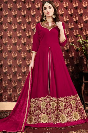 Magenta Stone And Embroidery Work Faux Georgette Anarkali Suit With Net Dupatta