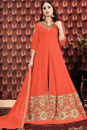 Gorgeous Embroidered And Zari Work Orange Faux Georgette Anarkali Suit And Dupatta