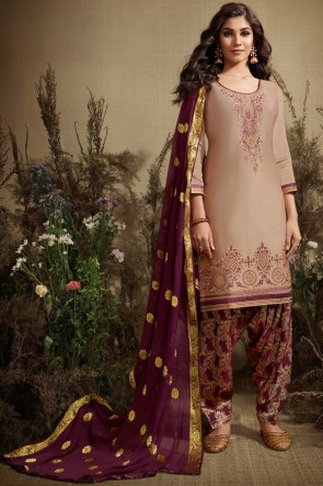 Beige Jacquard Work Silk And Cotton Fabric Patiala Suit With Nazmin Dupatta