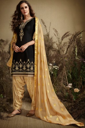 Black Cotton And Silk Embroidered Patiala Suit With Nazmin Dupatta