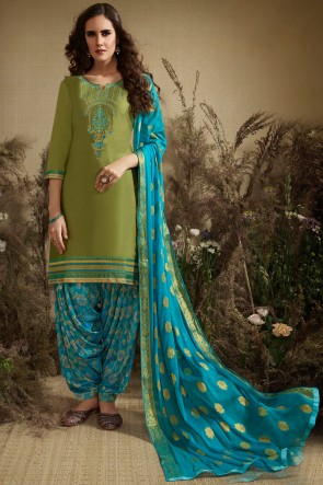 Diwali Special Jacquard And Embroidery Work Olive Cotton And Silk Patiala Suit