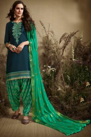 Gorgeous Jacquard Work Turquoise Cotton Patiala Suit With Nazmin Dupatta