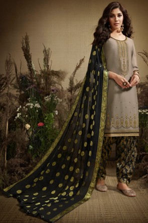 Ultimate Grey Embroidered Silk Patiala Suit With Nazmin Dupatta