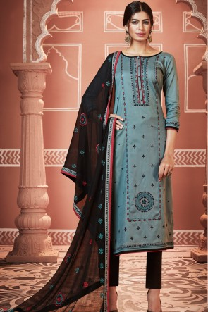Gorgeous Embroidered Blue Cotton Fabric Casual Salwar Suit With Nazmin Dupatta