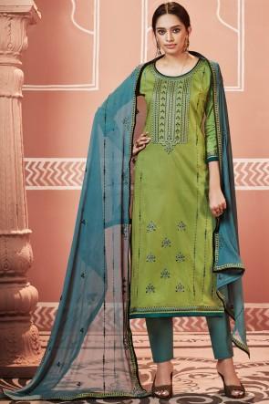 Marvelous Cotton Fabric Olive Casual Salwar Kameez With Nazmin Dupatta