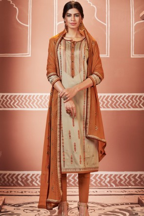 Gorgeous Embroidered Beige Pakistani Casual Salwar Kameez And Cotton Bottom