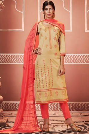 Excellent Embroidered Cream Cotton Casual Salwar Suit With Nazmin Dupatta