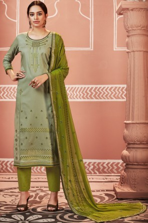 Eid Special Cotton Fabric Light Green Charming Casual Salwar Suit With Nazmin Dupatta