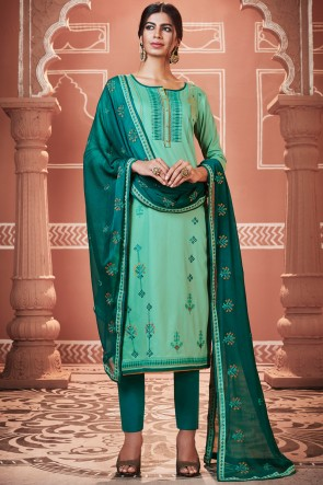 Pretty Embroidered Cotton Turquoise Casual Salwar Suit With Nazmin Dupatta