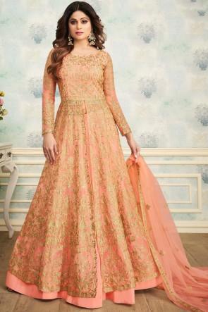 Shamita Shetty Classic Peach Embroidered Net Fabric Salwar Suit And Dupatta