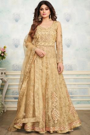 Shamita Shetty Engagement Wear Golden Embroidered Superb Salwar Suit With Net Dupatta