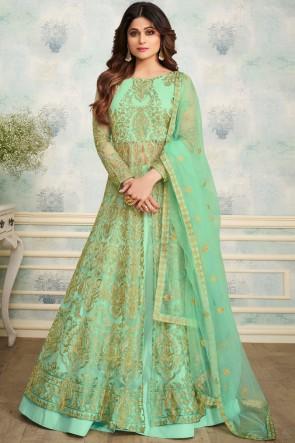 Shamita Shetty Charming Light Green Party Wear Net Fabric Salwar Kameez