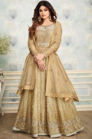Shamita Shetty Marvelous Beige Embroidered Salwar Kameez With Net Dupatta