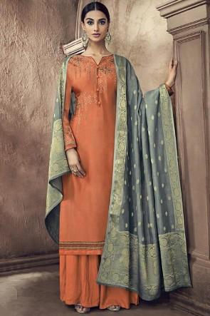 Orange Viscose Embroidered And Swarovski Work Plazzo Suit With Jacquard Dupatta