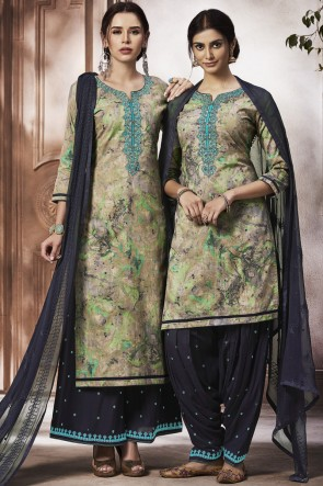 Delightful Cotton Fabric Multi Embroidered Patiala Suit And Jacquard Bottom