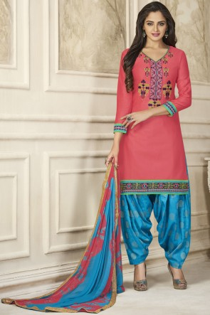 Party Wear Embroidery Work Pink Designer Patiala Suit With Nazmin Dupatta