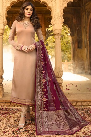 Kritika Kamra Beige Georgette Satin Jacquard Work And Embroidered Casual Salwar Suit