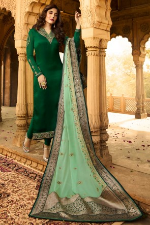Kritika Kamra Green Georgette Satin Stone Work And Embroidered Casual Salwar Suit