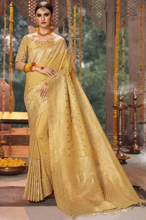 Beige Jacquard And Banarasi Silk Fabric Zari And Thread Work Saree With Cotton Blouse