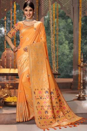 Banarasi Silk Orange Jacquard And Embroidery Work Saree With Cotton Blouse